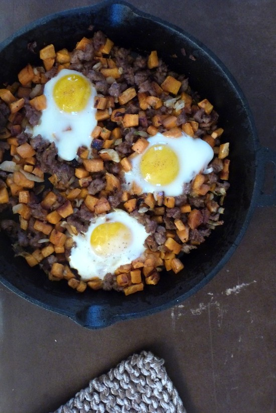 Sweet Potato Hash with Sausage and Baked Eggs