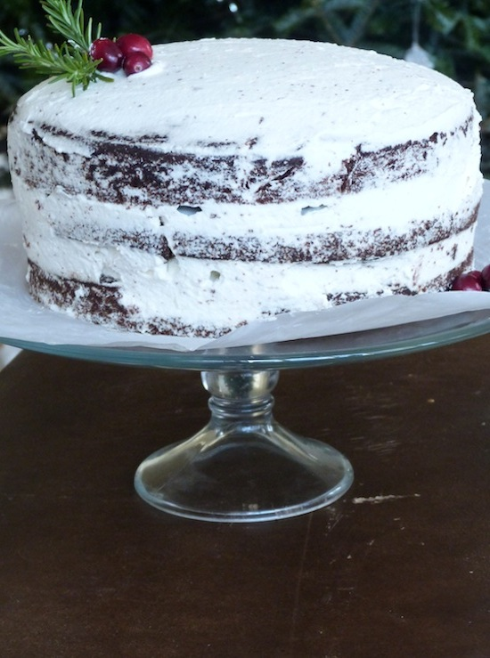 Chocolate Triple Layer Cake with Whipped Cream Frosting