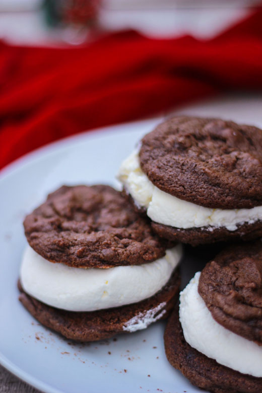 Cream Filled Chocolate Cake Cookie Sandwiches